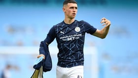 FODEN FOCUS: Phil Foden gets his game face on