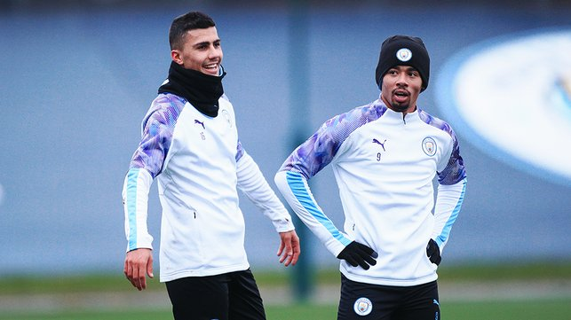 TWO'S COMPANY : Rodrigo and Gabriel Jesus were among a host of players back at City after being away on international duty