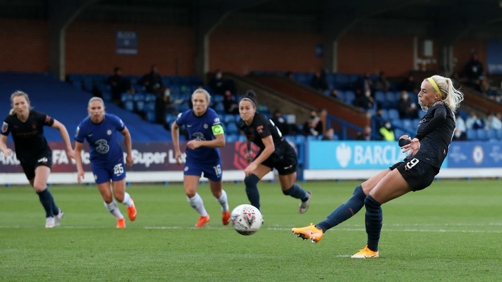 SPOT ON: Chloe Kelly fires home from the penalty spot to give City hope