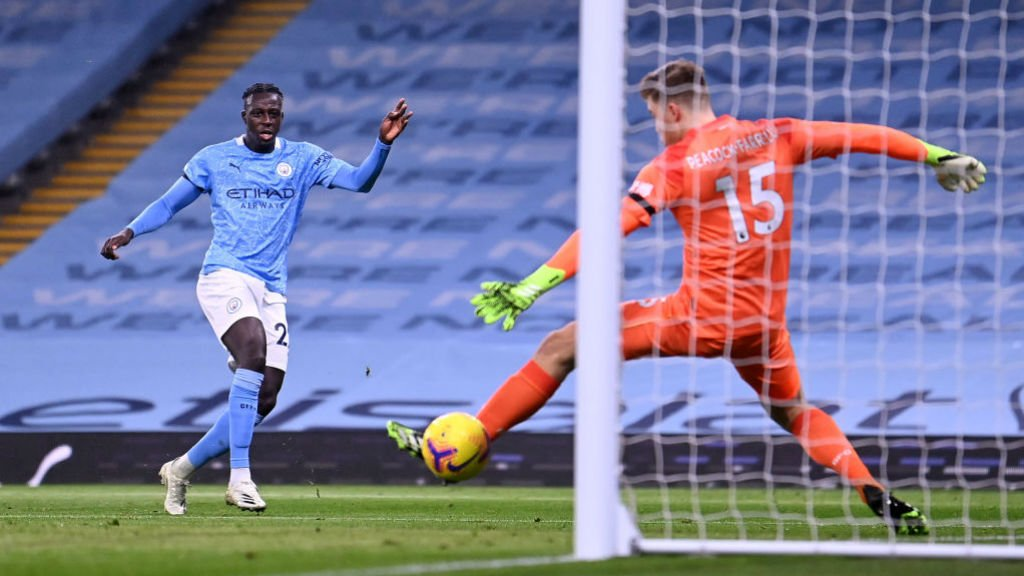 FIRST FOOTING: Benjamin Mendy registers his first-ever goal for City