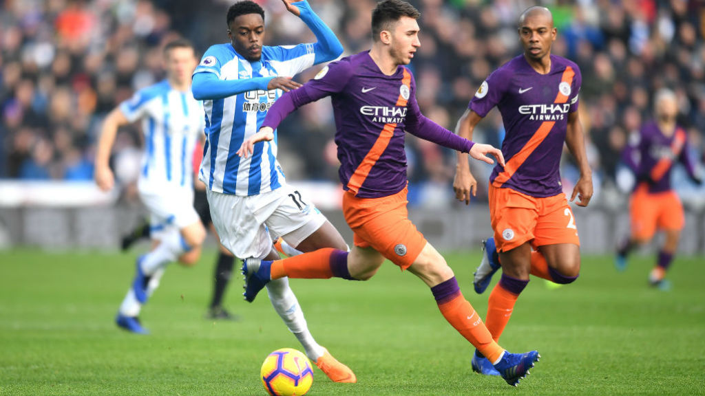NO ENTRY : Aymeric Laporte puts the block on Huddersfield's Adama Diakhaby