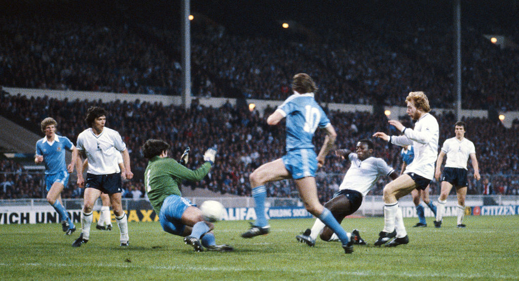 DESPAIR : Garth Crooks scores past Joe Corrigan in the 1981 FA Cup final replay, which City lost to Spurs.
