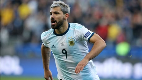 ON THE MARK: Sergio Aguero wheels away in delight after firing Argentina ahead