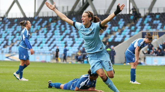 GOOD AS GOALS: Scott starts the celebrations after striking against Birmingham in a 2015 FA Women's Cup clash