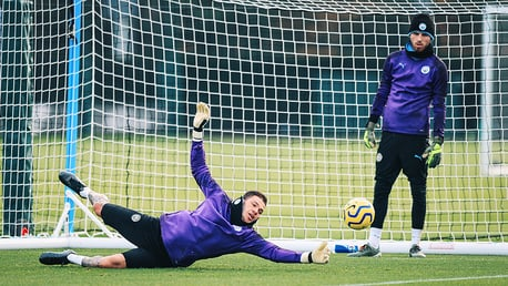 BACK IN BUSINESS: It was great to see Ederson back out on the training pitch