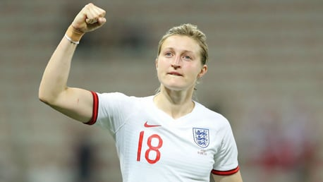 DOUBLE DELIGHT: City and England striker Ellen White celebrates after scoring her second goal against Japan