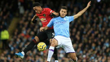 WELCOME: Rodrigo at full throttle in his first Manchester derby.