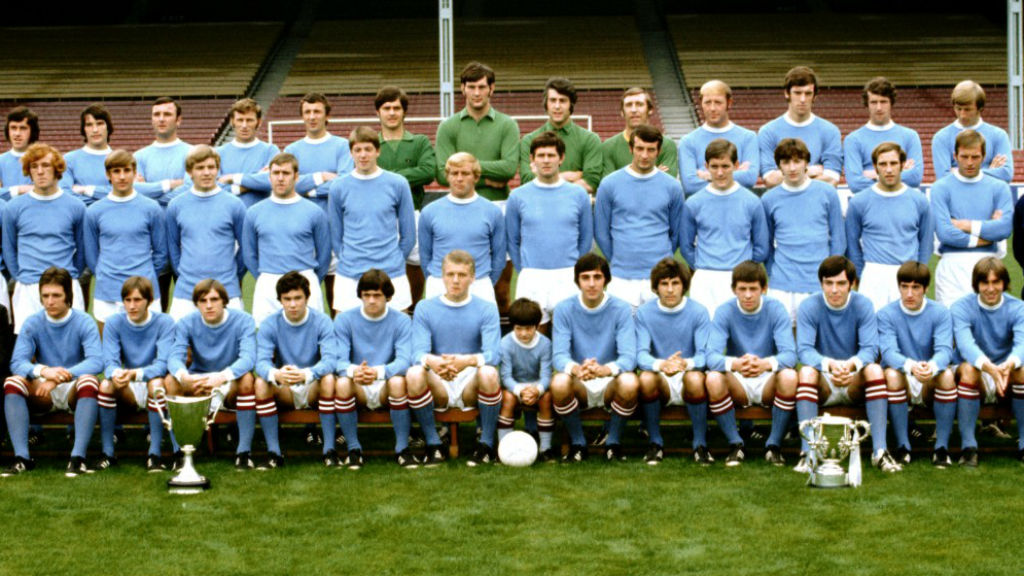 TROPHY HUNTERS: Alan Oakes (middle row far right) and the City squad after our twin Cup successes of 1970