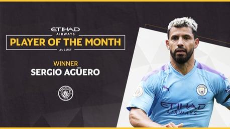 Sergio Aguero wins Etihad Player of the Month vote
