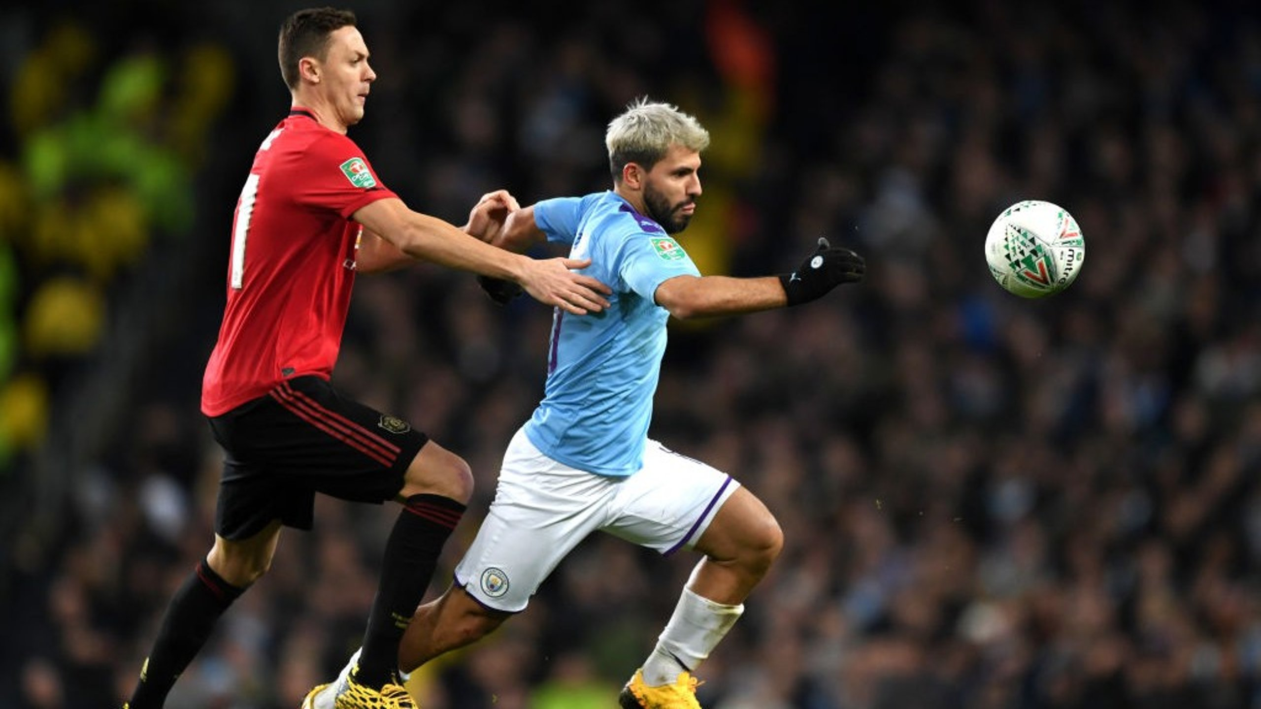 TOUCH TIGHT: Aguero looks to get away from Matic in the second half.