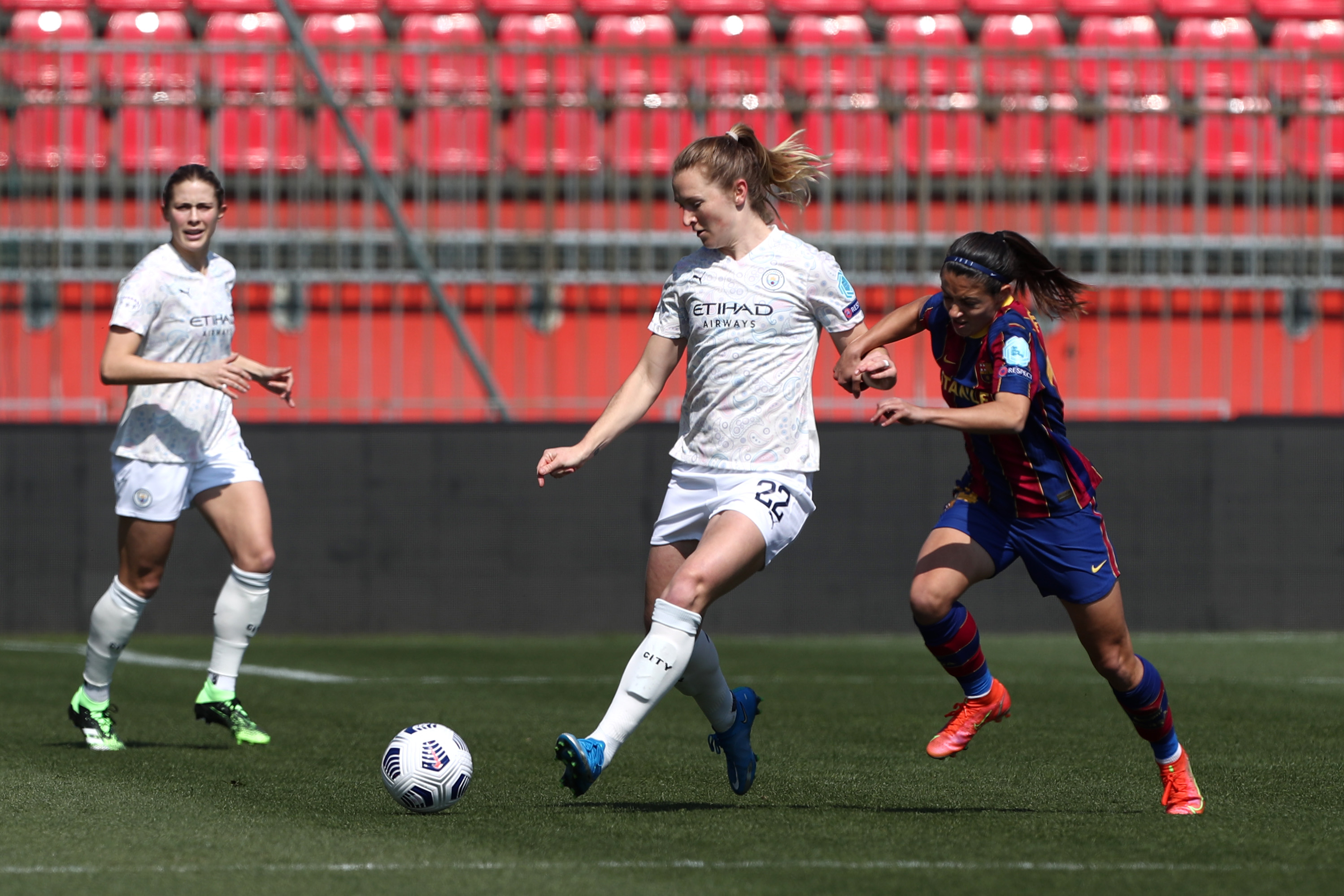 ACTION STATIONS: Sam Mewis takes the fight to Barcelona