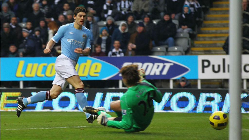 STRIKE ONE: Gareth Barry opens the scoring for City