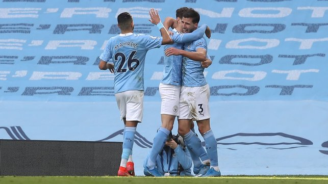 ALL SMILES : Dias clearly enjoyed his first goal for City!