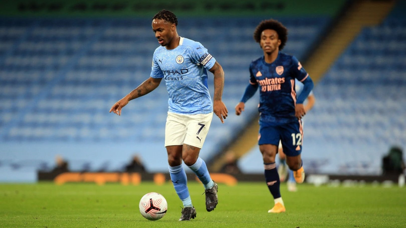 CAPTAIN FANTASTIC: Sterling leads the team forward on the attack again.