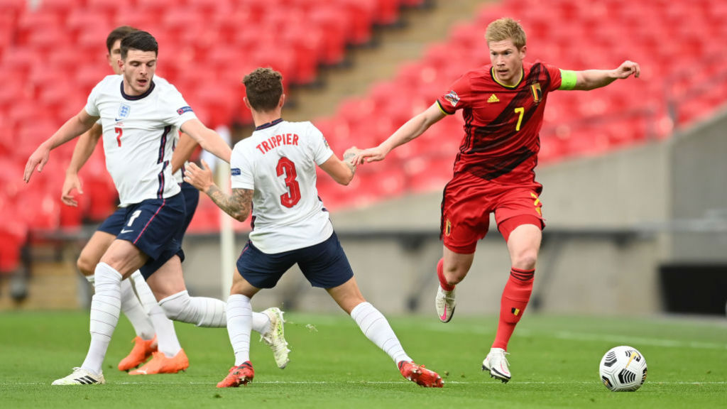 LEADING MAN: Belgium skipper Kevin De Bruyne in the thick of the action