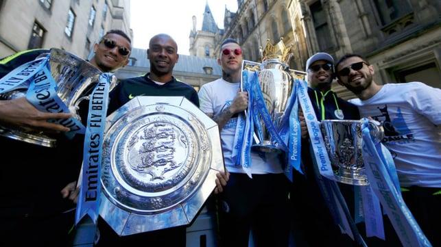 FOURMIDABLE : Fernandinho along with Danilo, Ederson, Gabriel Jesus and Bernardo during our trophy parade to celebrate our historic Fourmidables campaign
