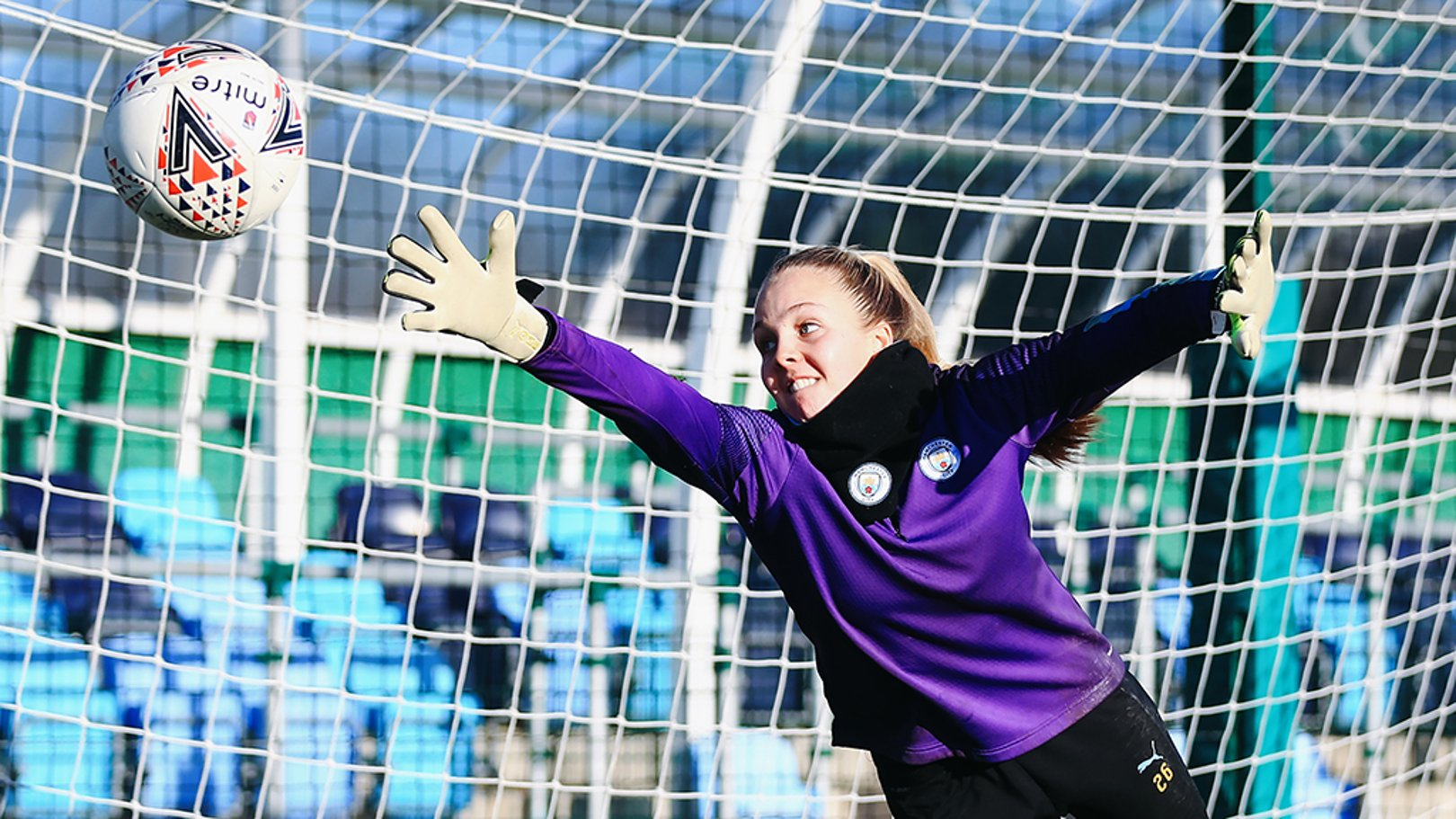 AT ELL STRETCH: Ellie Roebuck with an outrageous save!
