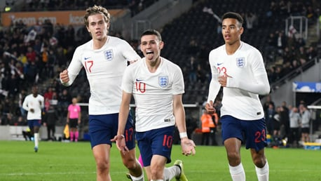 ON THE MARK: Phil Foden struck the opening goal for England Under-21s away in Albania
