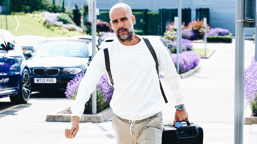 HERE'S THE BOSS : Pep returns to the office...