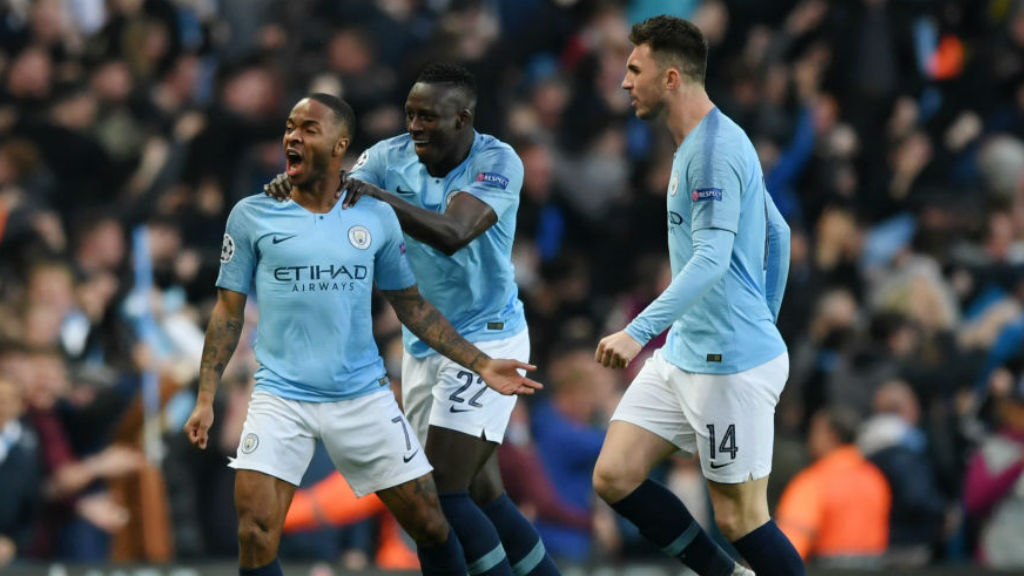 ROAR POWER : Benjamin Mendy and Aymeric Laporte join in the celebrations after Raheem's second goal
