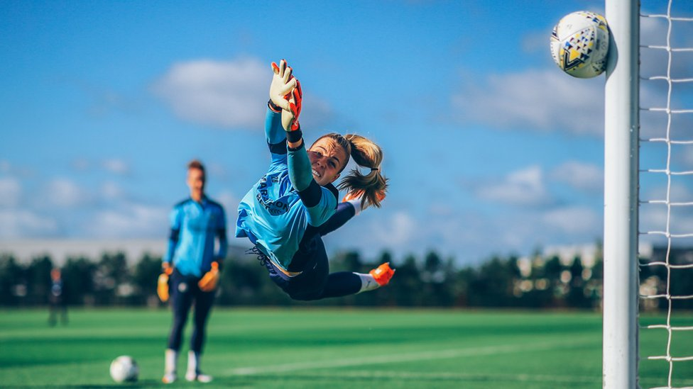 AT FULL STRETCH: Ellie Roebuck makes a spectacular save