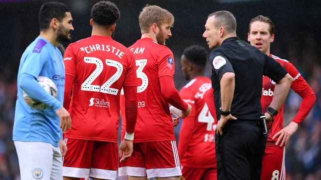 EARLY BATH : Ream is sent off by referee Kevin Friend.