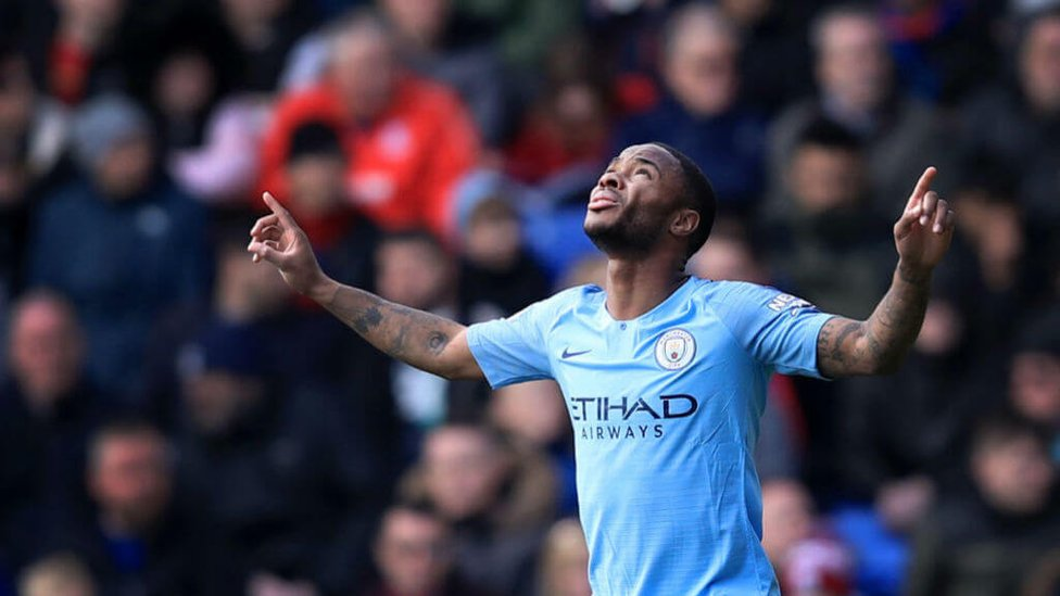 MORE JOY FOR THE BOY : It's a goal in each half for Raheem Sterling.