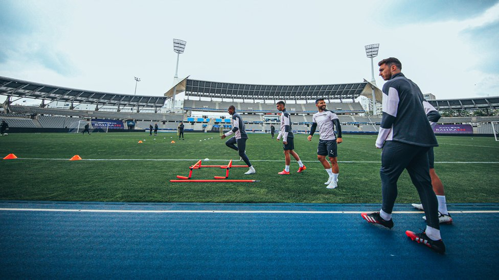 LIGHT START : The players get moving as the session begins.