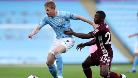 MIDFIELD MAESTRO: De Bruyne looks to escape the attention of Mendy midway through the first period.