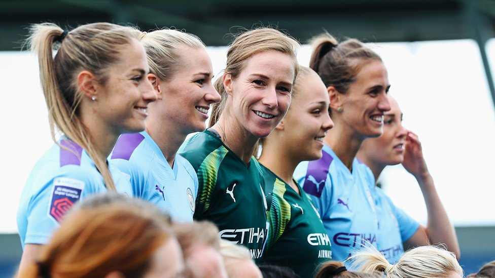 SHE'S A 'KEEPER : One of City's longest-serving players, Karen Bardsley - on her sixth Club photoshoot!