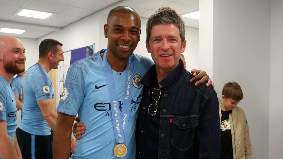 ROCK N ROLL STAR : Noel Gallagher joined the celebrations at Brighton.
