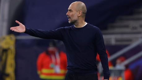 THE BOSS: Guardiola provides instructions from the touchline.