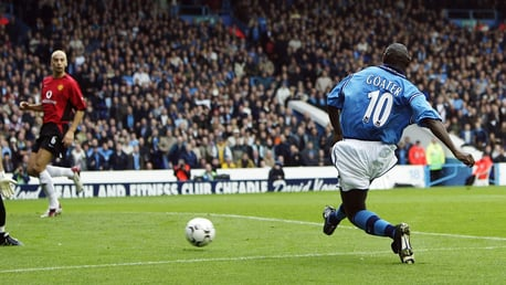 Shaun Goater scoring in the Manchester Derby