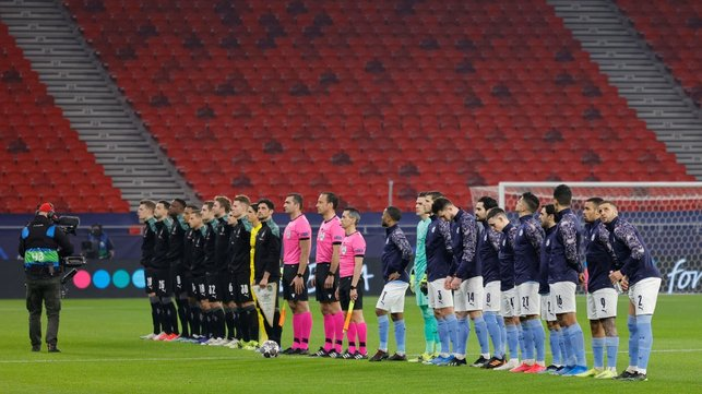GAME TIME : The players arrive on the pitch ahead of kick off.
