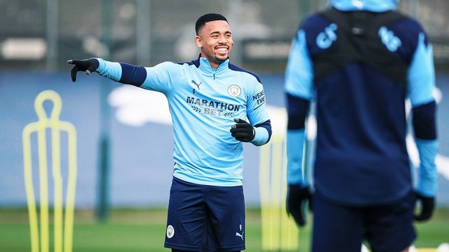 THAT WAY : Gabriel Jesus pointing in the direction of Saturday's clash!