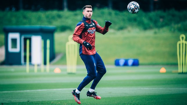 AYMING HIGH: Aymeric Laporte prepares to bring down an aerial ball