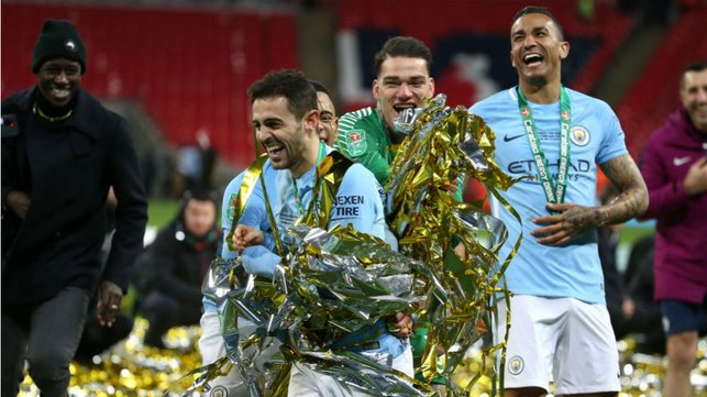 SOLID SILVA : Bernardo joins in the celebrations after our Carabao Cup final win over Arsenal in February 2018 - his first trophy with the Blues