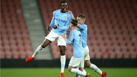 DOUBLE DELIGHT: Fisayo Dele-Bashiru struck twice for our Under-18s in Saturday's win away at Everton