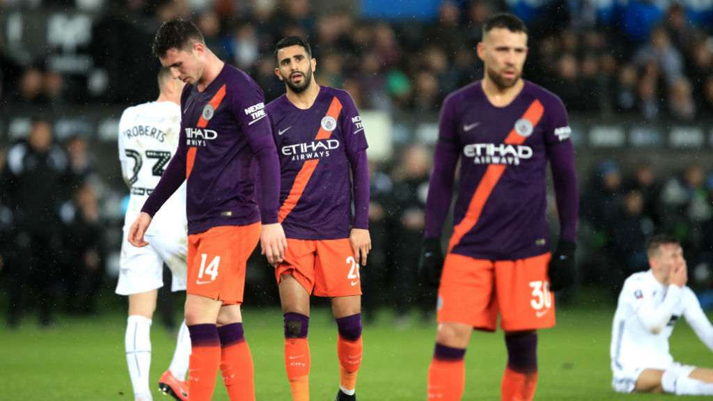 DOWN BUT NOT OUT : The Blues' expressions say it all after a tough first half