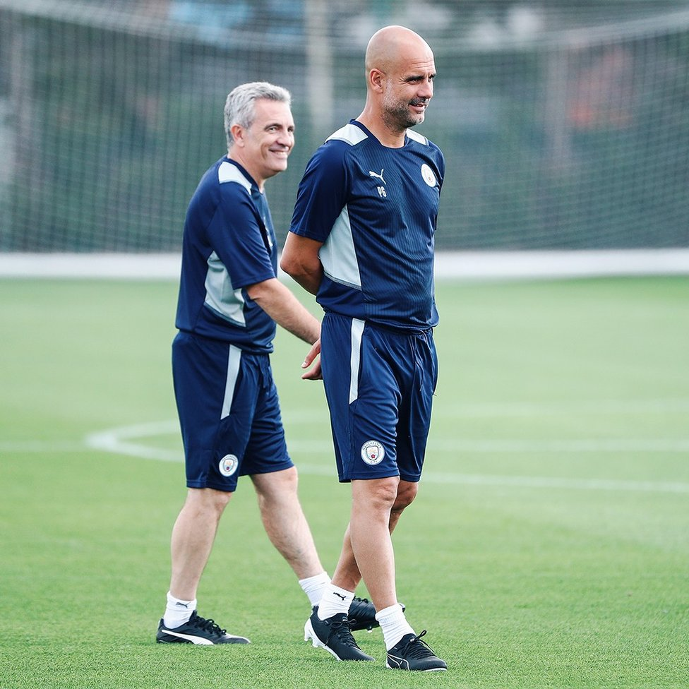 PEP TALK: The boss back out on the pitch!