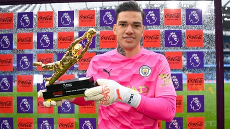 GOLDEN EDERSON: The Brazilian gets his award for the most clean sheets this season.