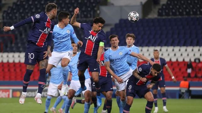DEADLOCK BROKEN: Marquinhos rises highest to head home the game's opening goal