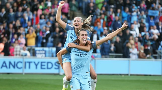 TITLE TILT: Jill and Toni Duggan celebrate after a crucial league win over Chelsea in 2016
