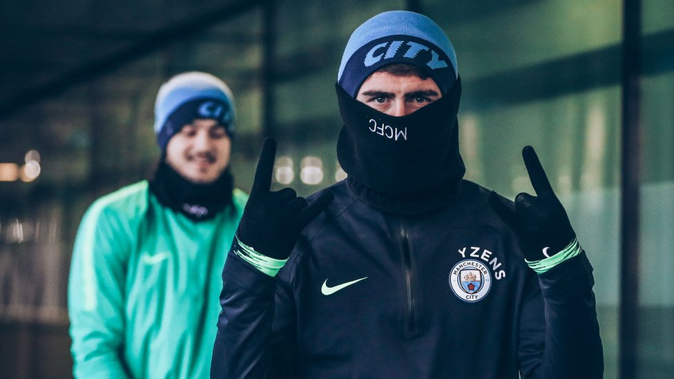 BOYS IN THE SNOOD : Aymeric Laporte and Aro Muric gear up to ward off the winter chills