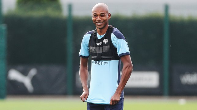 SMILES BETTER: Fernandinho clearly enjoyed Tuesday's session!