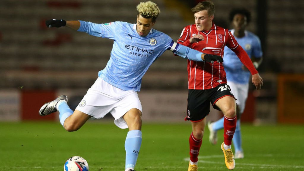 LEADING MAN: Skipper Felix Nmecha gets City Under-21s moving against Lincoln