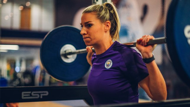 WORTH THE WEIGHT : Gemma Bonner puts in some vital strength work