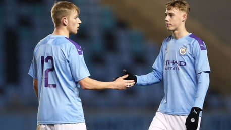 JOB DONE: Sammy Robinson and Cole Palmer after City's 1-0 FA Youth Cup win over Fulham