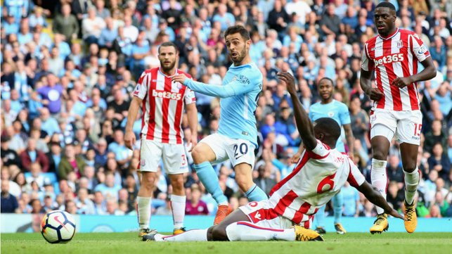 STRIKE ONE : Bernardo registers his first goal for the Blues during our 7-2 win over Stoke in October 2017