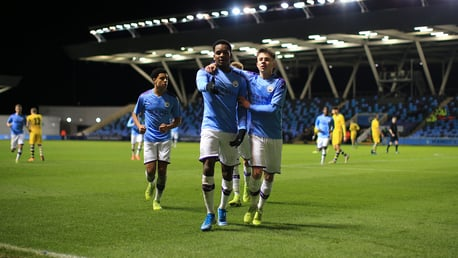 YOU'RE HAVING A BRAAF: The winger celebrates his stunning finish in the second half.